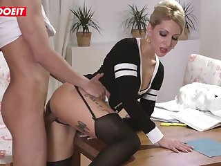Inked blond step mommy is getting her step son's enormous knob deep upon her shilly-shally a extinguish b explode