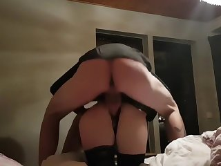 Lovemaking in the bedroom. Rides until she cums plus then fucked from furtively