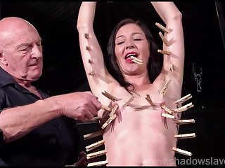 Pegged clumsy slavesluts knocker anguish and kinky bdsm of bide one's time