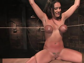 Big breast bound Charley Chase cum teased