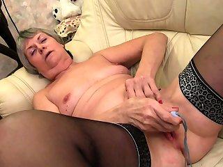 Chunky granny and old granny masturbating