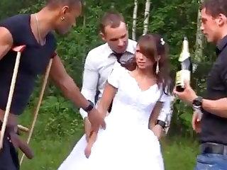 Russian cully enjoys an interracial gang-bang into public notice