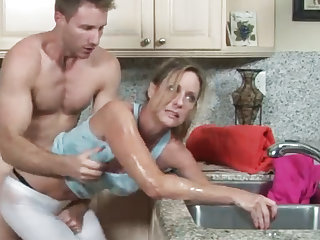 MILF gets her hand stuck in get under one's drain, her son helps