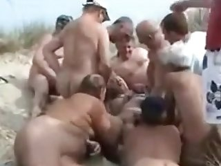 Nudist Gangbang with blondie Kathy