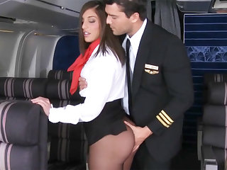 Authority over seduced stewardess to fuck in airplane