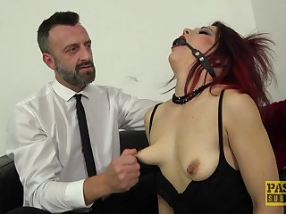 Dutiful mature redhead Leanne Morehead fed cum from will not hear of face