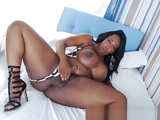 Busty ebony shemale cocktease jekring off BBC solo