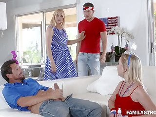 Lustful busty tow-headed Sarah Vandella takes affixing in crazy group sex scene