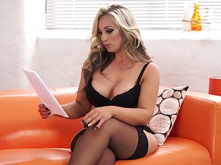 Reading the script blonde MILF Kellie OBrian flashes her awesome big tits