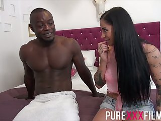 BBC fucks smoking hot washed out show one's age Kimmie Foxx increased by cums on the top of her boobs