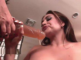 Crestfallen lesbians play with strap-on toys