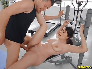 Busty bitch Valentina Nappi gets oiled and fucked in the gym