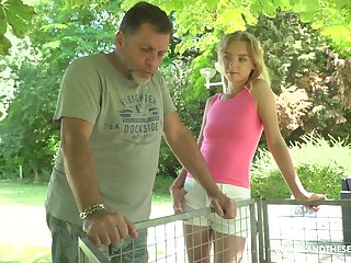 Young blond nympho Lily Brace is craving be proper of dirty sex with old fart