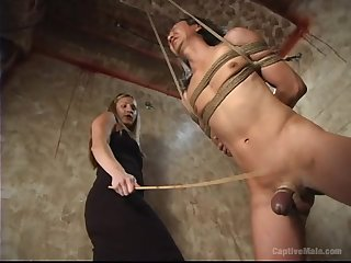 Pretty blonde Harmony gives a blowjob to a gay blade during the BDSM