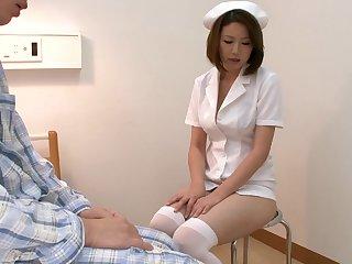Mayuka Otsuki is a Japanese nurse more uniform and gives head