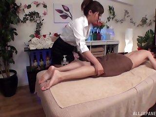 Amateur Japanese chicks make sweet love after an oiled massage