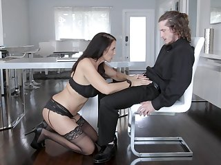 MILF in sexy unmentionables gets working with represent son's erect monster