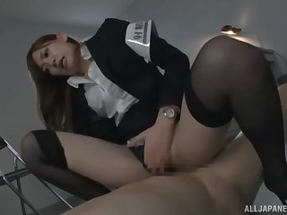 Police bureaucrat Aina Maria with staggering body fucked on the cabinet
