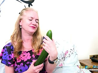 Sex-starved old woman Lily May tries to satisfy myself with a huge cucumber
