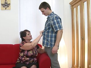 Younger lady's man with a stiff penis fucks dirty grey mature Janica