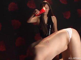 Stunning Japanese beau Kurokawa Sarina loves dominating over her panhandler