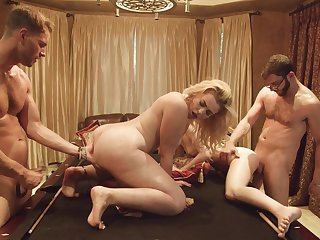 Two buddies having a group sexual congress with two hot girls after a pool diversion