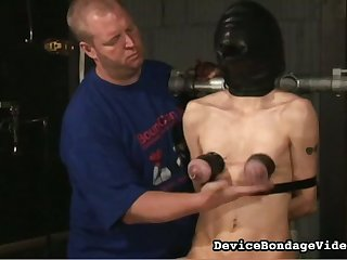 This slut lives the BDSM lifestyle and she loves having the brush tits punished