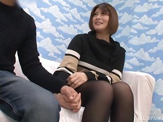 Shy Japanese wife undressed and licked by her dirty husband