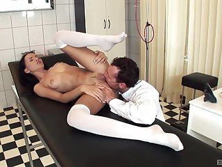 Doctor licks babe's pussy with the addition of fucks her in merciless modes