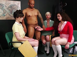 Katsie Olsen and her babes touching a black guy's veiny dick