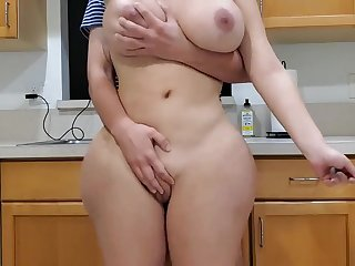 Scorching nurturer and sonny in kitchen