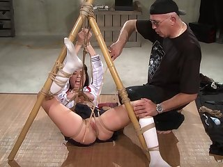 Submissive chick endures a lot of pussy clamping and bondage mating