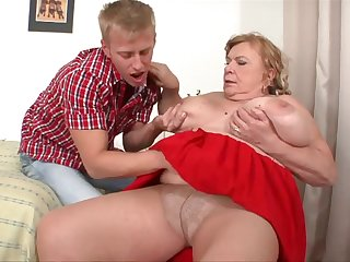 MEGA Big Tits Granny Getting Fucked, Sucking above Cock - Big tits