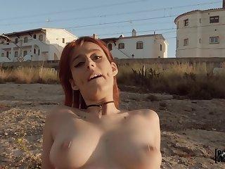 Redhead leggy sheik Piikara Blood rides Jordi El Nino Polla open-air