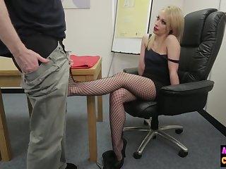 Peevish morose blonde sucks femdom cock
