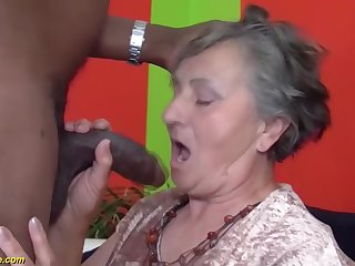 80 years grey grandmother very saucy multiracial